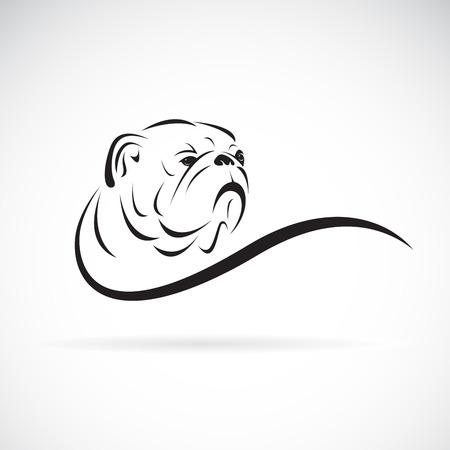 Bulldog hoofdontwerp op wit