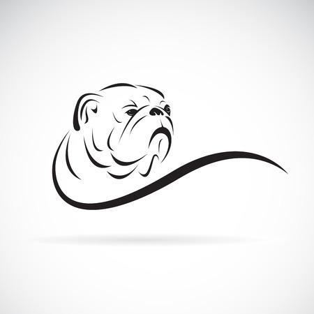 Disegno della testa del bulldog su bianco
