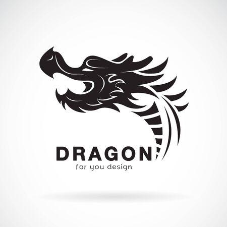 Vector of dragon head design on a white Çizim