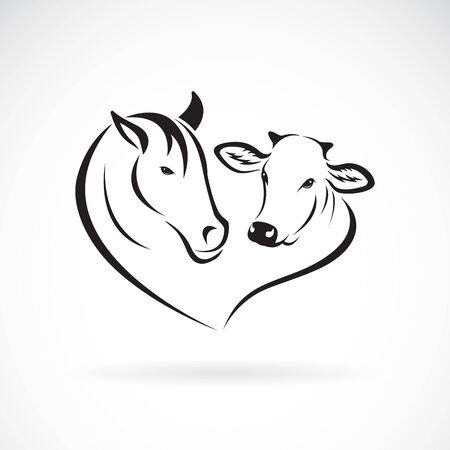 Vector of horse head and cow head design on a white