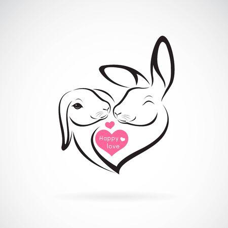 Vector van twee konijnenkopontwerp en hart op wit