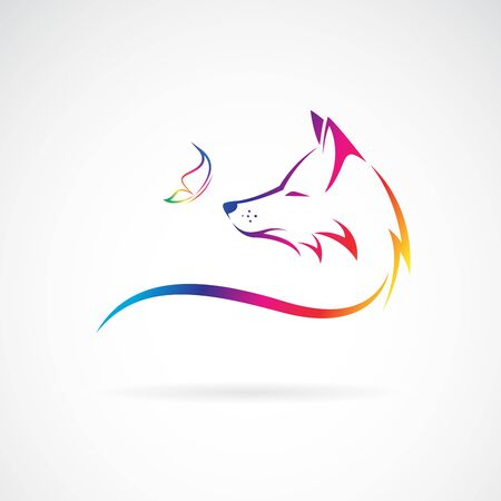 Vector of fox head and butterfly on white Vector Illustratie