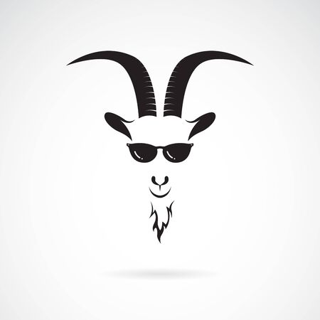 Vector of goat head wearing sunglasses on white