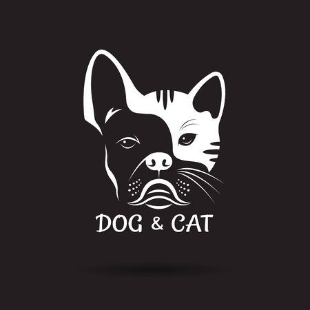 Vector of dog face (ฺbulldog) and cat face design on a black