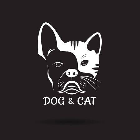 Vettore di faccia di cane (ฺbulldog) e disegno di faccia di gatto su un nero
