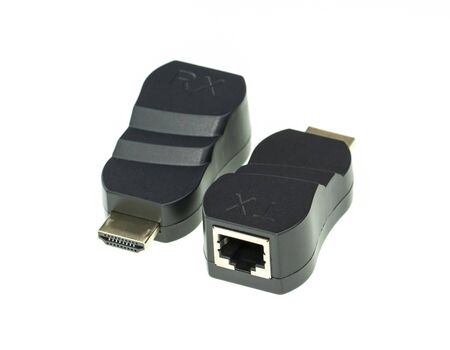 Image of HDMI extender to network lan internet adapter computer isolated on white