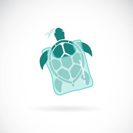 Vector of turtle trapped in a plastic bag on white 写真素材 - 131906822