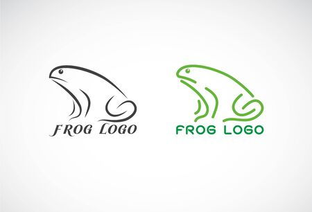 Vector of green frogs and black frog on white