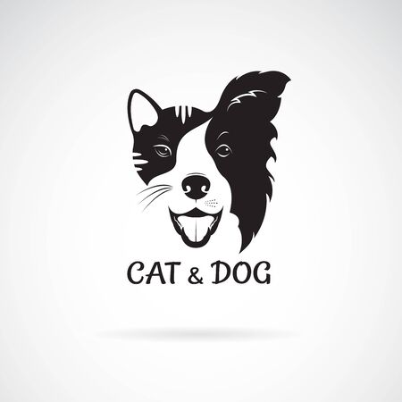Vector of dog face (Border collie) and cat face on a white