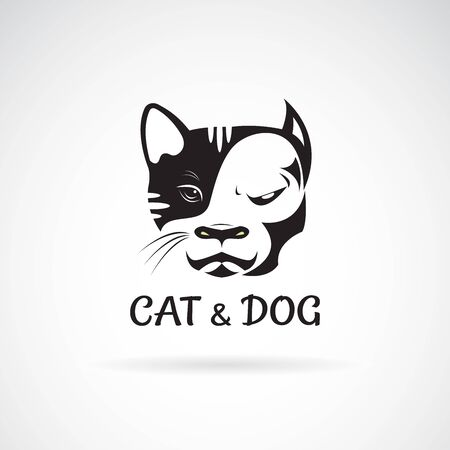 Vector of dog face (ฺbulldog) and cat face design on a white
