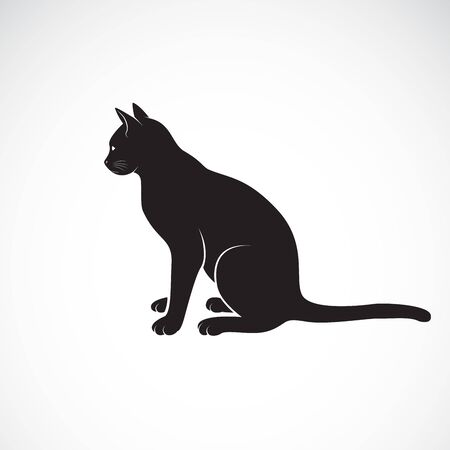 Vector of sitting cat on a white background. Pet. Animals. Cats icon. Easy editable layered vector illustration.