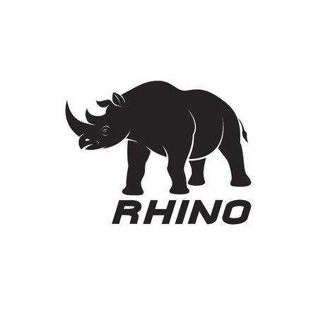 Vector of rhinoceros on a white background. Wild Animals. Rhino icon.  Easy editable layered vector illustration.