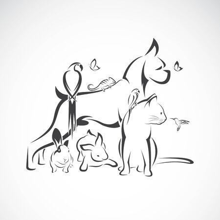 Vektorgruppe Haustiere - Hund, Katze, Kolibri, Papagei, Chamäleon, Schmetterling, Kaninchen lokalisiert auf weißem Hintergrund. Haustiersymbol oder Logo, einfach editierbare geschichtete Vektorillustration. Logo