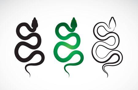 Vettore di disegno di serpente su sfondo bianco. Animali. Rettile. Logo o icona di serpenti. Illustrazione vettoriale a strati modificabile facile. Logo