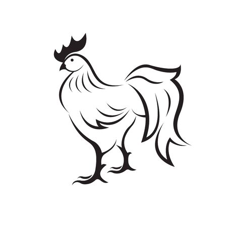 Vector of rooster or cock on white background. Animal farm. Chicken logo or icon. Easy editable layered vector illustration.