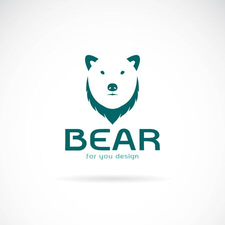 Vector of bear head design and the letters on white background. Wild Animals. Easy editable layered vector illustration.
