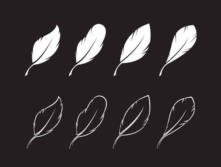 Vector group of white feather on black background. Easy editable layered vector illustration.