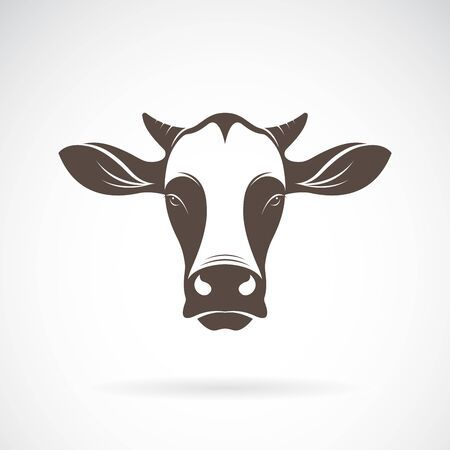 Vector of a cow head design on white background. Farm Animal. Cows logos or icons. Easy editable layered vector illustration. Logo