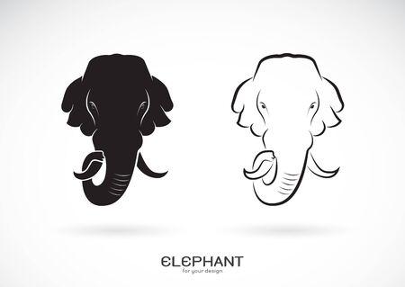 Vector of elephant head design on white