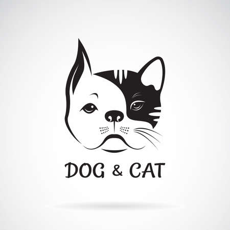 Vector of dog face and cat face design on a white background. Pet. Animal. Easy editable layered vector illustration.