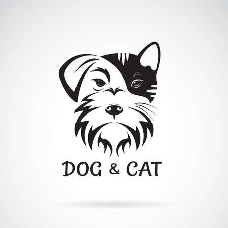 Vector of dog and cat face design on a white background. Schnauzer. Pet. Animal. Easy editable layered vector illustration.