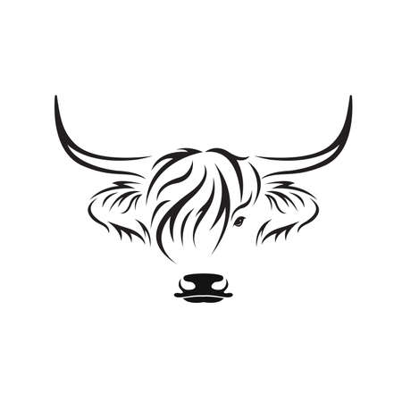 Vector of highland cow head design on white background. Farm Animal. Cows logos or icons. Easy editable layered vector illustration.