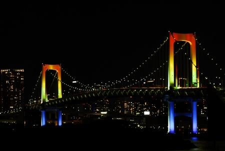 suspension bridge: Bridge color night