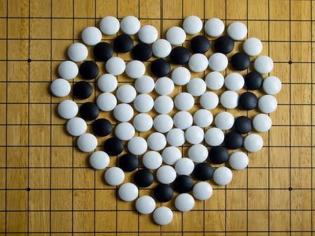 black boards: Heart on Go board
