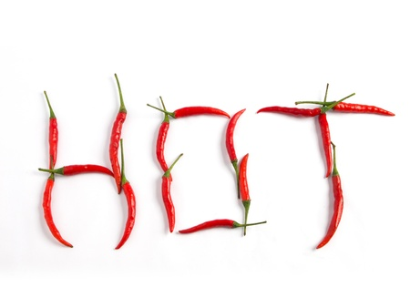 word hot with chilli Standard-Bild