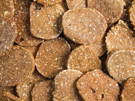pork liver biscuit background. It is dog food. photo