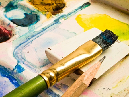 water-color, brush and palette Stock Photo - 9741124