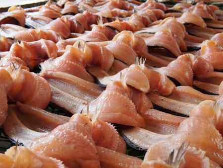 striped snake head fish: dried mudfish one sun Stock Photo