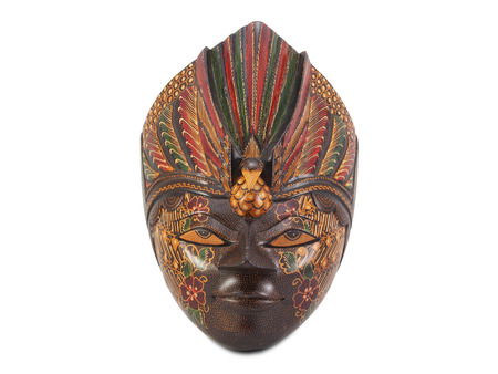 artifact: wooden painted mask on white