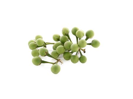 pea eggplants with stem on white background photo