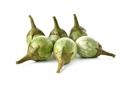 eggplant: eggplant with stem on white background Stock Photo