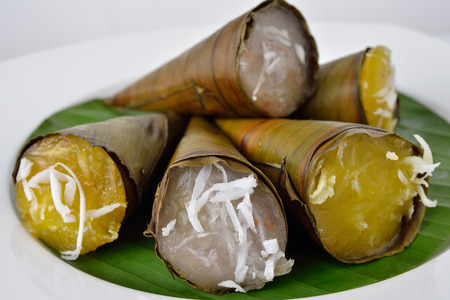 shredded coconut: Thai dessert steam-minced pumpkins and taro with shredded coconut in cone