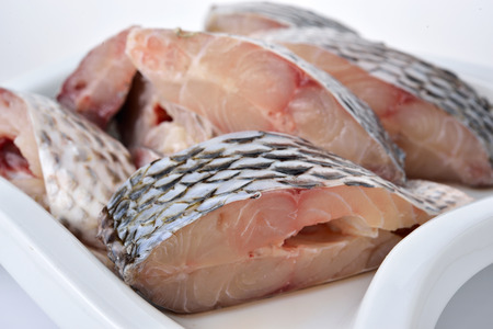 oreochromis: portion cut of fresh Tilapia fish on plate