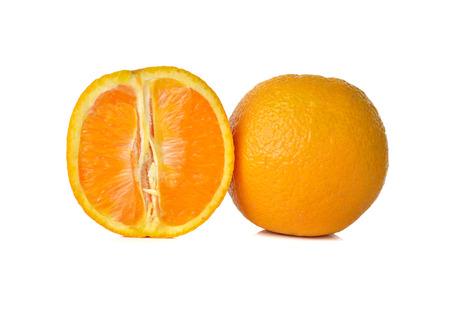 navel orange: sliced orange on white background