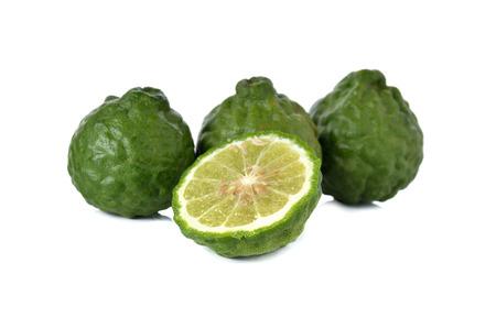 leech: fresh bergamot or Leech Lime on white background