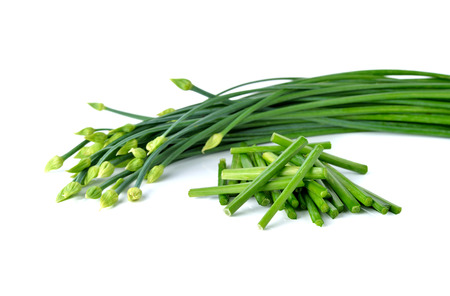 stack Chives flower or Chinese Chive on white background. Stock Photo