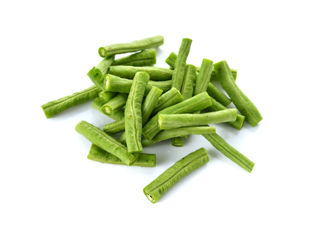 portion cut yardlong beans on white background Imagens