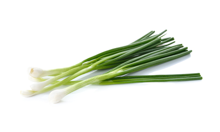 whole green spring onion on white background 스톡 콘텐츠