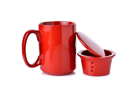 lid: red tea cup with filters and lid on white background