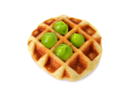 pandan: waffle with pandan leaves cream flavor on white background