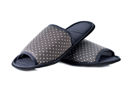 footware: fabric Slippers on white background Stock Photo