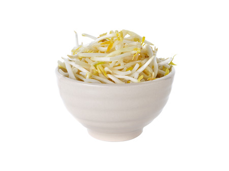 mung bean sprout: bean sprouts in bowl on white background
