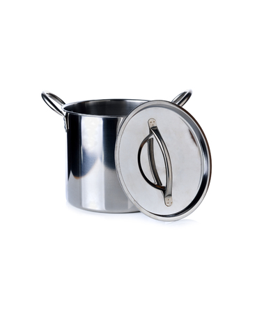 stainless steel pot: stainless steel pot with lid on white background