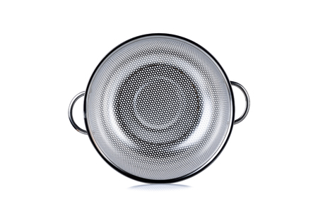 bail: stainless colander with bail on white background