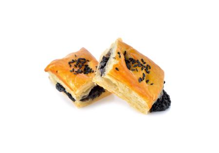black sesame: black sesame pie on white background