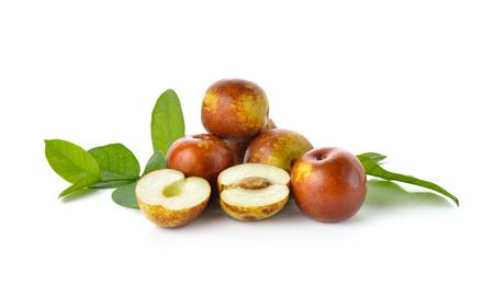 jujube fruits: chinese jujubes fruits on white background
